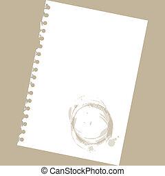 -, notatnik, do góry, ilustracja, papier, groch, czysty, zamknięcie