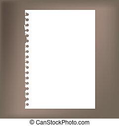 -, notepad, cima, ilustração, papel, em branco, fim