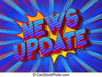 -, noticias, cómico, estilo, palabra, actualización, libro