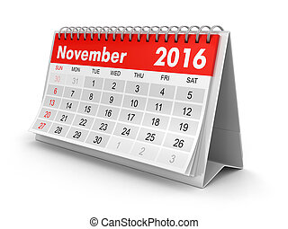 -, november, naptár, 2016