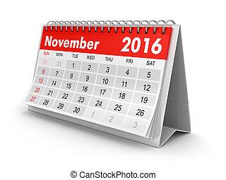 -, novembre, calendrier, 2016