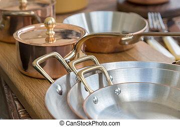 -, nuevo, ollas, cacerolas, cobre, cookware