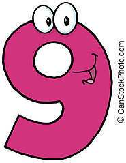 -Number Nine Cartoon Mascot Character