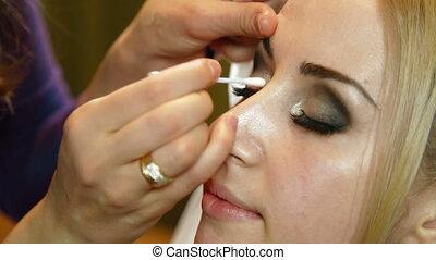 -, nuptial, maquillage, demande, fard paupières