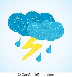 -, nuvens, chuva, relampago, escuro, tempo