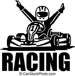 -, nyertes, sofőr, kart, versenyzés