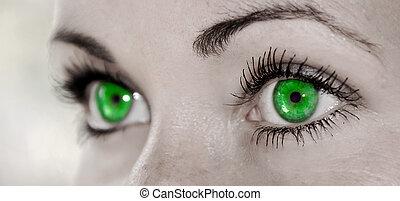 -, occhio, verde, femminile, bello