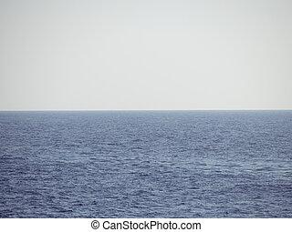 -, oceaan, kalm, horizon, niets, nevelig