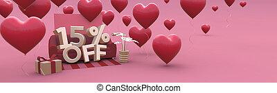 -, od, 15, piętnaście, list miłosny, space., sprzedaż, procent, dzień, kopia, 3d-banner, poziomy
