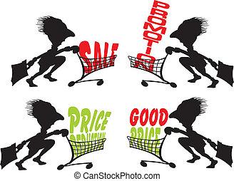 -, oferta, especial, reducción, precios