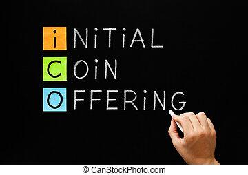 -, offerta, iniziale, moneta, ico