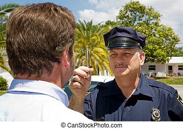 -, oficial, olho, polícia, coordenação