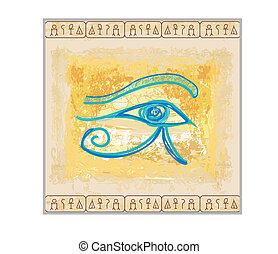 -, ojo, plano de fondo, horus, vendimia