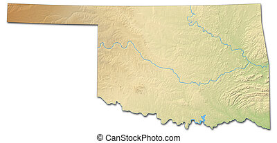 -, oklahoma, states), (united, mapa en relieve, 3d-rendering