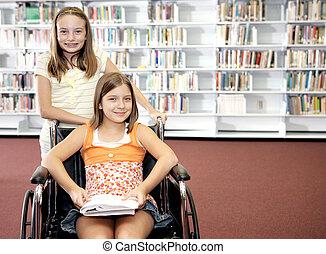 -, onderricht girls, bibliotheek, twee