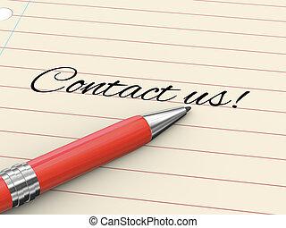 -, ons, contact, pen, papier, 3d