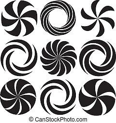 -, optisch, kunst, spiralen, sammlung