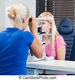-, optométrie, concept, patient, femme