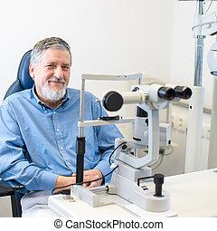 -, optometry, 概念, 患者, シニア