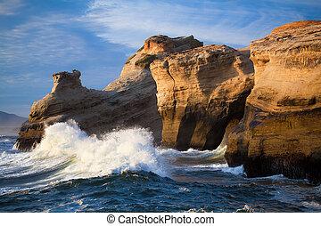 -, oregon, ondas oceano, costa, paisagem