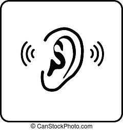 -, orelha, vetorial, silueta, sinal