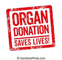 -, orgue, timbre, donation, fond blanc, rouges