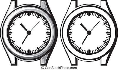 -, orologio polso, mano