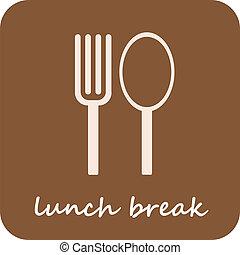 -, osamocený, lámat, oběd, vektor, ikona