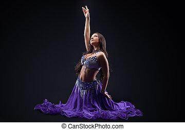 -, oscuridad, bailarín, posar, disfraz, arabia, oriental