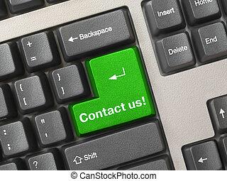 -, oss, kontakta, gröna facit, tangentbord