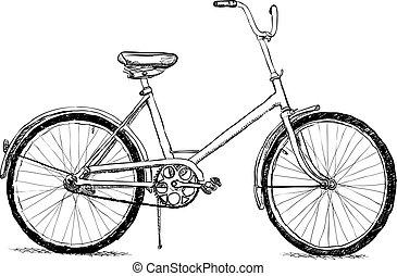 -, oud, vector, fiets, eps8
