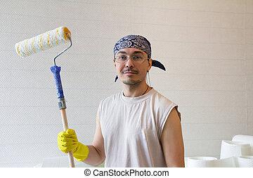 -, ouvrier, jeune, peinture, rouleau, homme