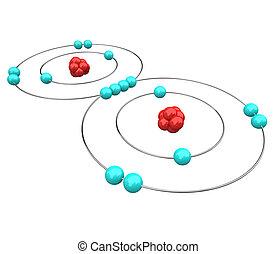 -, oxígeno, atómico, diagrama
