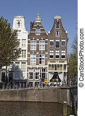 -, Países Baixos, antigas, Amsterdão, casas