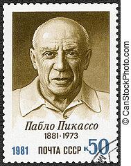 -, pablo, urss, environ, naissance, centenary, imprimé, picasso, 1981:, artiste, spectacles, timbre, 1981, (1881-1973)
