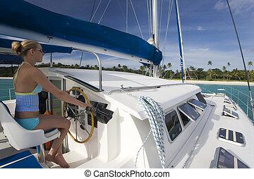 -, pacífico, luxo, catamaran, fiji, sul