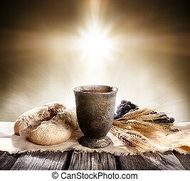 -, pain, calice, vin, communion, croix, azyme, lumière