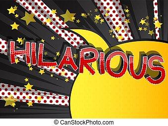 -, palabra, cómico, caricatura, estilo, libro, hilarante
