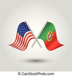 -, palos, símbolo, vector, portugal, portugués, norteamericano, américa, dos, unido, plata, estados, banderas, cruzado