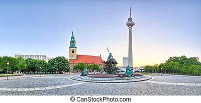-, panorámico, berlín, alemania, vista, alexanderplatz