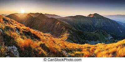 -, panorama, tramonto, tatras, slovacchia, montagna, rohace