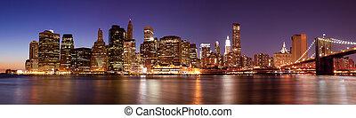 -, panoramisch, skyline, york, nacht, nieuw, manhattan,...