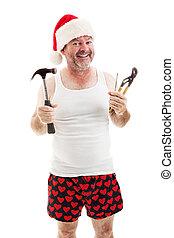 -, papa, gereedschap, kerstmis, gereed
