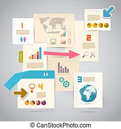 -, papel, disposición, plantilla, infographics