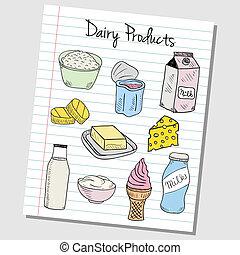 -, papel, lechería, doodles, productos, rayado
