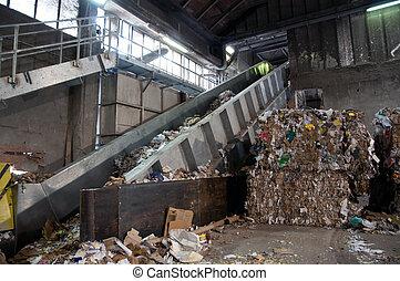 -, papier, gaspillage, moulin pulpe