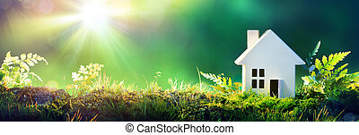 -, papier, maison, mousse, maison, jardin, amical, eco