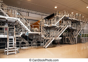 -, papier, plante, moulin, pulpe, usine