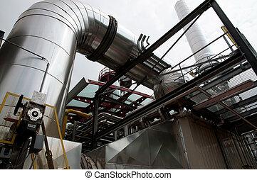 -, papier, plante, pulpe, cogeneration, moulin