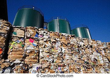 -, papier, pulpe, recycler, moulin